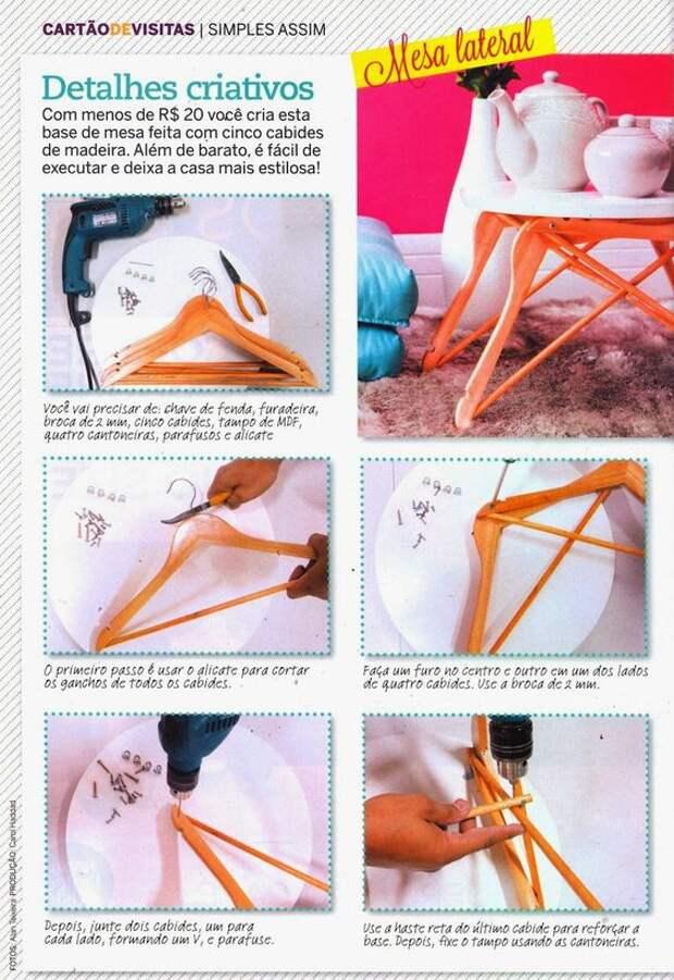 Накроватный столик из вешалок плечиков (Diy)