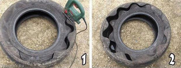 Как сделать вазон из старой покрышки