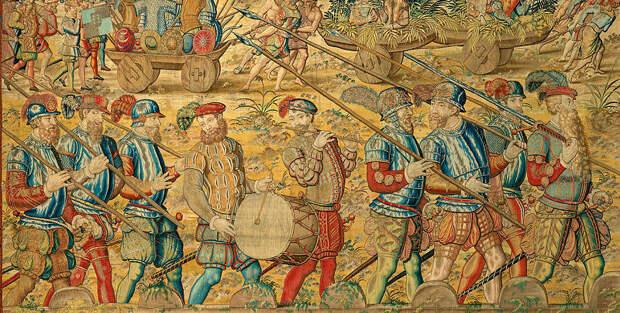 Португальские пикинёры в Индии на параде в 1546 году. Фрагмент гобелена, изготовленного в Брюсселе в 1550‑х годах по рисункам неизвестного художника - Диу: финал осады | Warspot.ru
