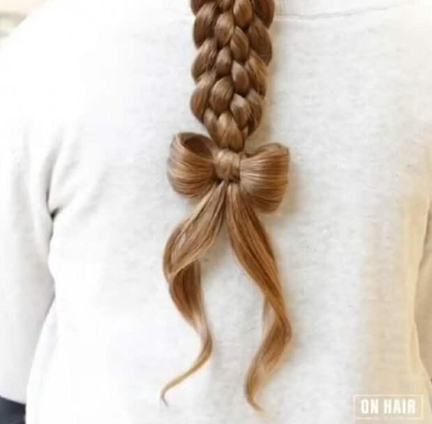 Косичка с бантиком из волос (Diy)