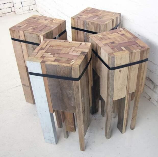 барные стулья полностью сделаны из вторичных материалов