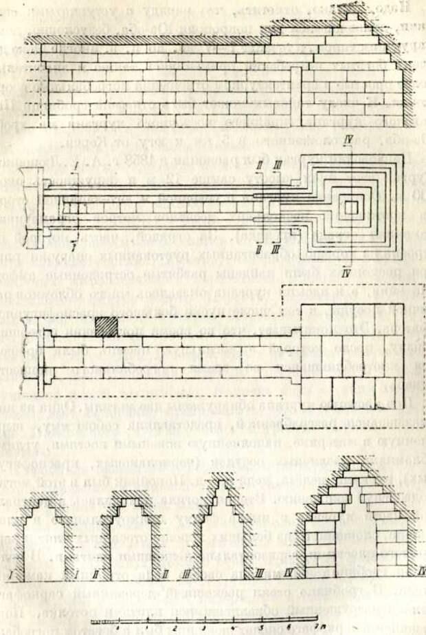Склеп Мелек-Чесменского кургана — план и разрезы. IV д. до н. э.