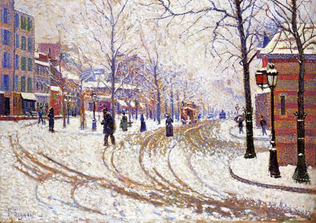 Снег, Бульвар Клиши, Париж, 1886. Автор: Поль Синьяк.
