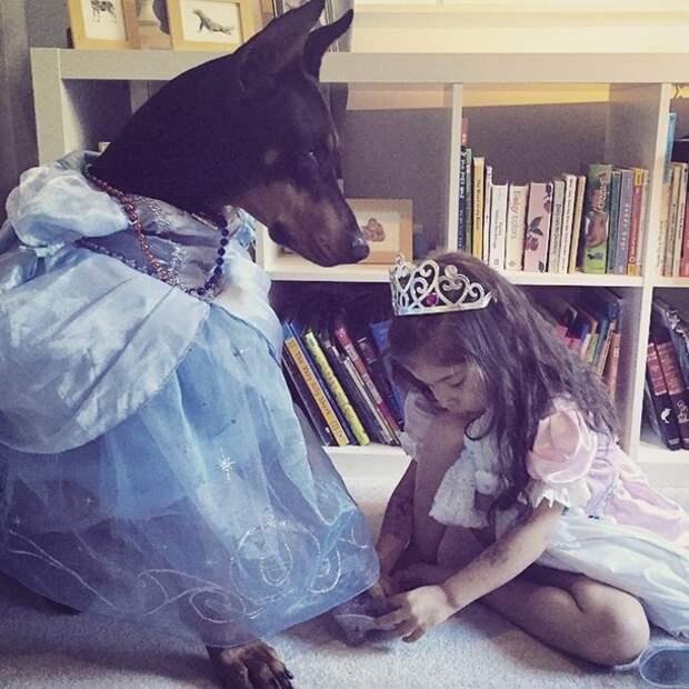 Фотографии малышки Сиены и её четырёхлапого друга