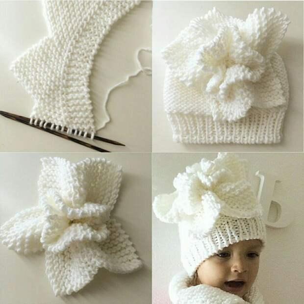 Вяжем эффектный цветок - украшение для шапочки спицами