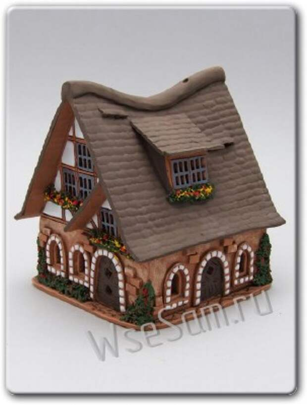 Сувенирный домик из глины: МК