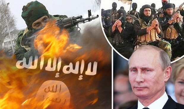 Vladimir Putin and Islamic State troops