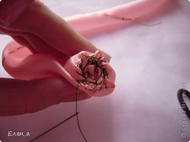 Мастер-класс Цумами Канзаши Шитьё Роза как делаю её я МК Ленты фото 12