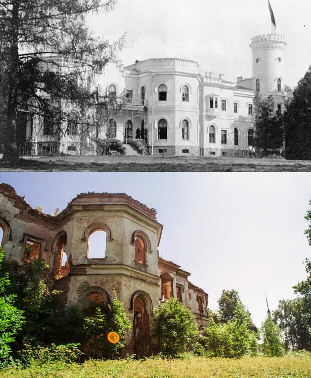 Западный фасад дворца в 1900-1915гг. и в 2019г.