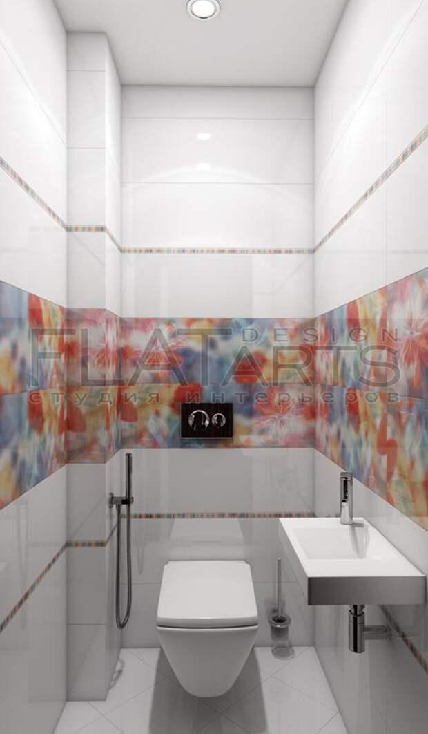 Дизайн-проект двухкомнатной квартиры, яркая плитка в ванной