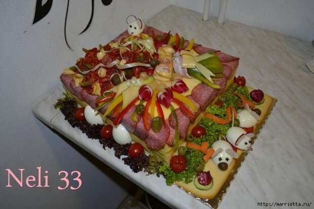 Соленый закусочный торт. Идеи оформления к ПАСХЕ (1) (700x466, 220Kb)