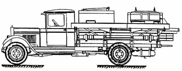 Схема машины «литер Д» с ёмкостями для перевозки моторных гребных винтов авто, автоистория, военная техника, история, переправа, понтон, понтонно-мостовая переправа