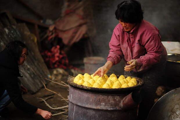 Кукрузные лепешки - единственная еда, которой может обеспечить собак Yang Xiaoyun