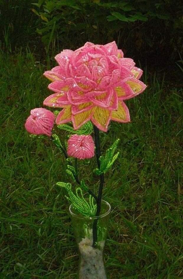 Цветы из бисера мастер-класс