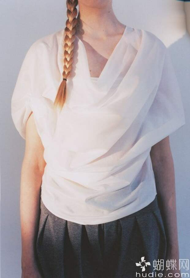 Выкройка креативной драпированной блузы из японской книжки