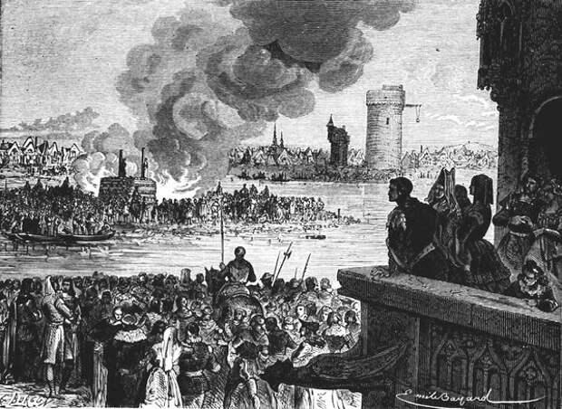 Король Филипп IV наблюдает за казнью Жака де Моле. С гравюры художника.  Фото из открытых источников