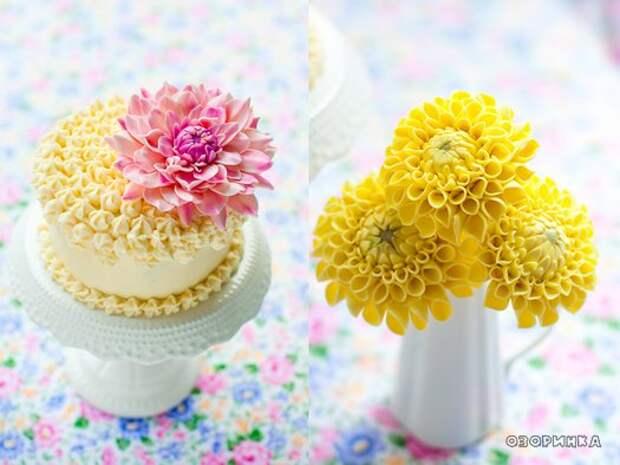 желтый цветочек из маршмеллоу