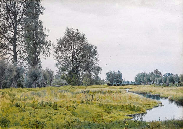 Речной пейзаж недалеко от Сент-Айвс, Хантингдоншире (River Landscape near St. Ives, Huntingdonshire). 1897 (656x466, 365Kb)