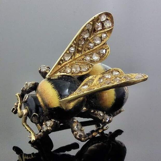 A Victorian metal, enamel and diamond brooch in the form of a bee, symbol of productive industry via Canterbury Auction Galleries