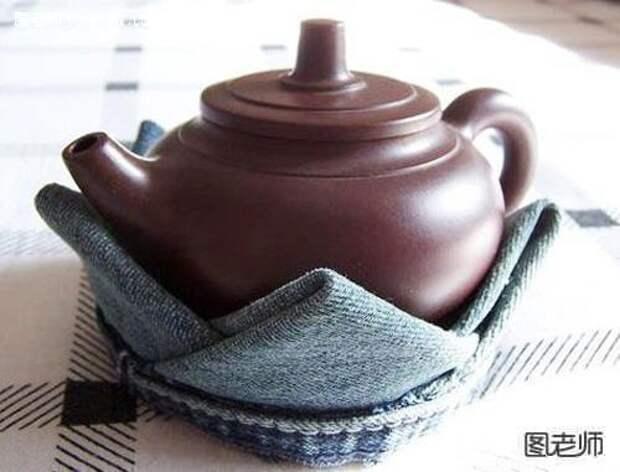 Подставка - грелка для чайника, оригами из джинсов
