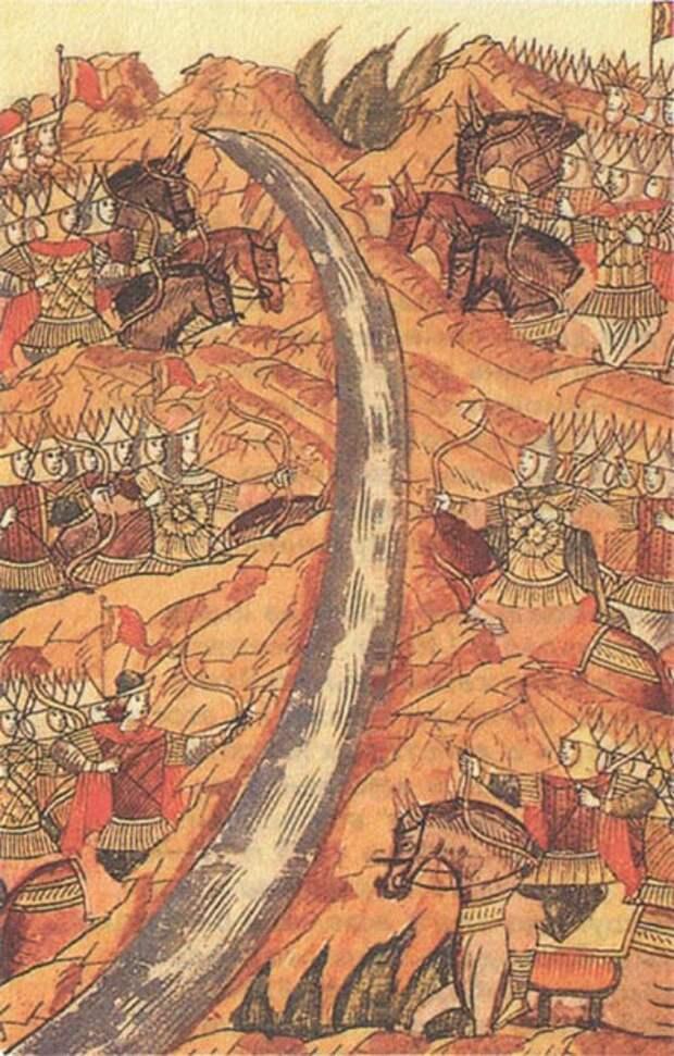 Стояние на Угре. Миниатюра летописного свода. XVI век.jpg