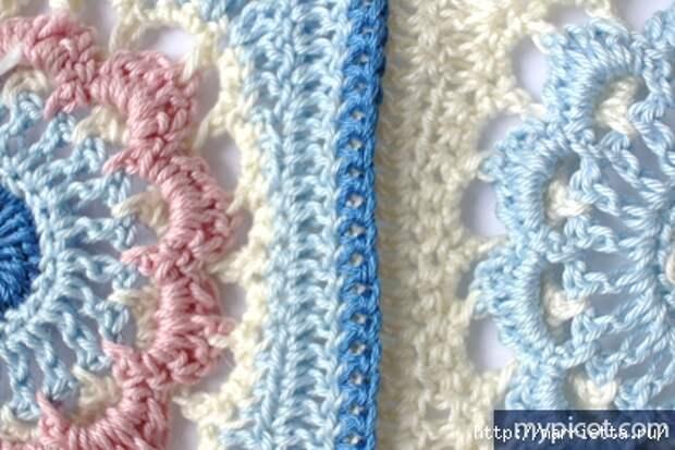 Красивый узор крючком для вязания пледа или покрывала (13) (421x281, 132Kb)
