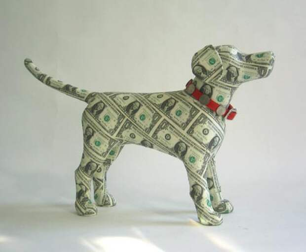 Оригами из денег - собака