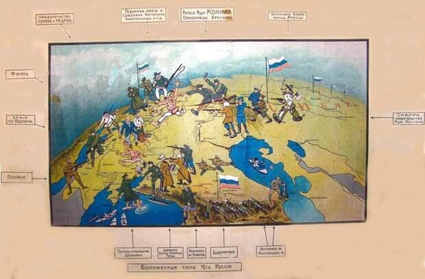 Белогвардейский плакат с составом антибольшевистских сил 1919 года.