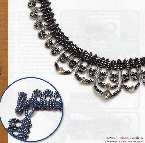 Различные схемы плетения колье из бисера. Украшения на шею, созданные при помощи разных способов бисероплетения.. Фото №11