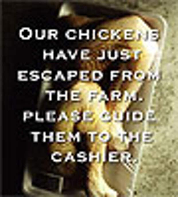 Свежеубиенные куры в рекламе супермаркетов