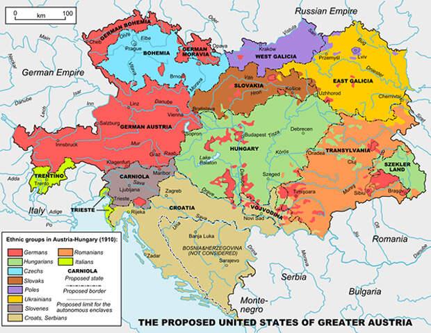 Карта предлагаемого Аурелом Поповичем территориального деления Австро-Венгрии на штаты
