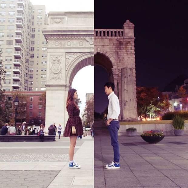 Влюблённые, живущие в разных странах, создают коллажи из фотографий, снятых на расстоянии