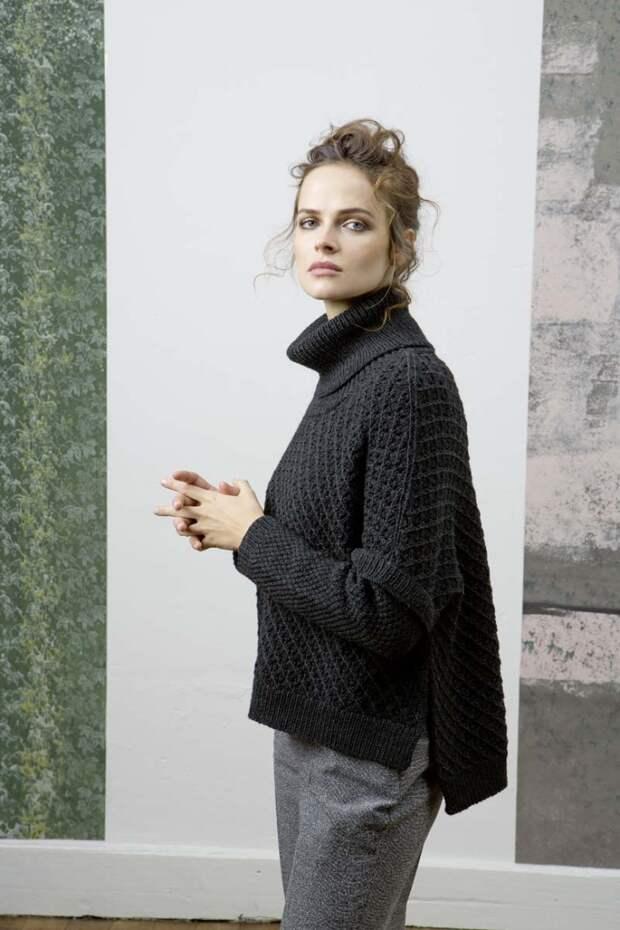 Ассиметричный свитер со спущеным плечом (Diy)