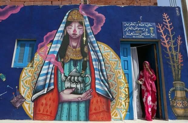 150 уличных художников из 30 стран, превратили старую деревушку Эр-Рияд в Тунисе в настоящую галерею под открытым небом (14)