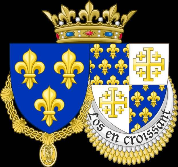 Герб Карла VIII Валуа. Помимо французских лилий герб включает «Иерусалимский крест» — официальный символ Иерусалимского королевства. en.wikipedia.org - Подготовка к схватке за «итальянский сапог» | Warspot.ru