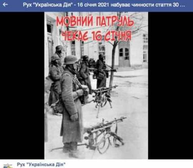 Заглавное фото: страница с сайта организации «Украинское действие»