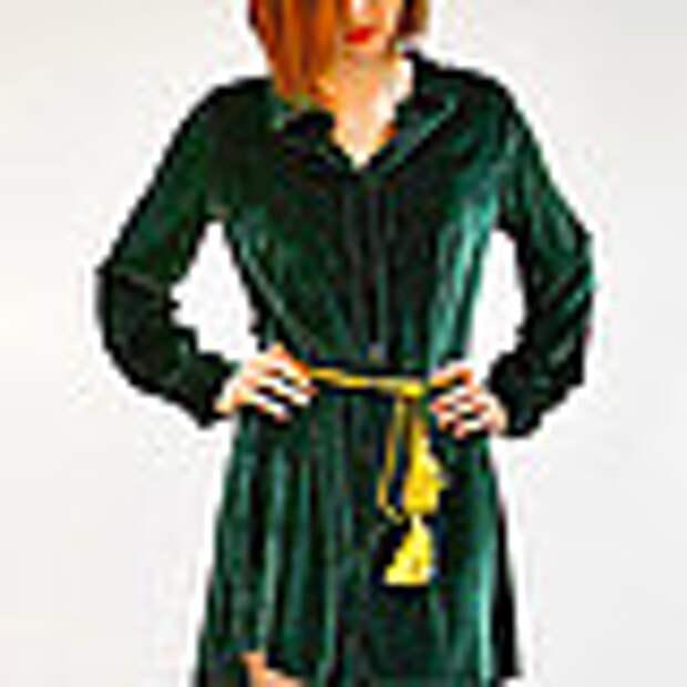 Платье-рубашка из бархата