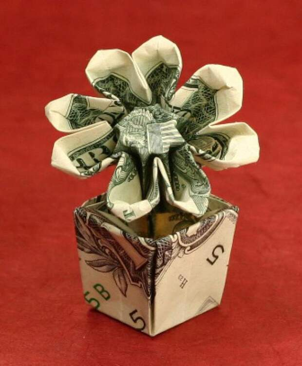 Оригами из денег - цветок