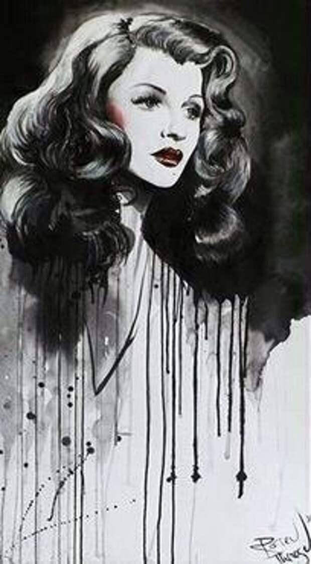 Перерисовки популярных фотографий культовых актрис в контрастном черно-белом стиле