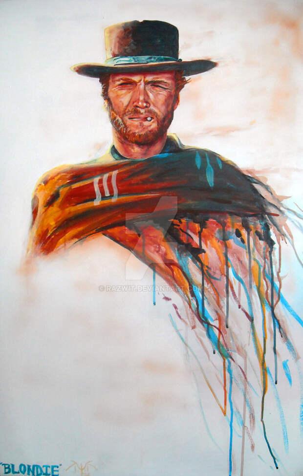 Нарисованный Клинт Иствуд.