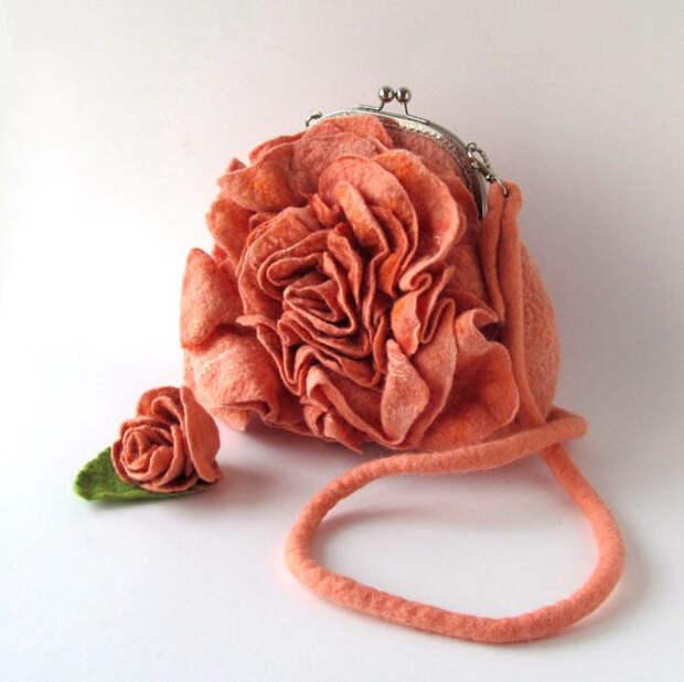 Felted handbag flower Orange coral rose flower