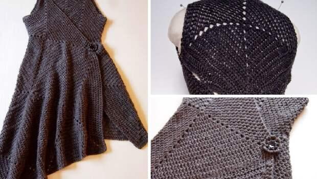 Необычное платье-конструктор крючком из «бабушкиных» квадратов