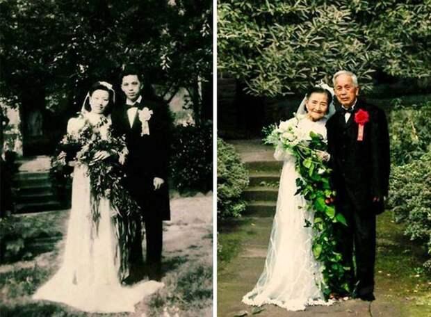Эта пара воссоздала день своей свадьбы спустя 70 лет