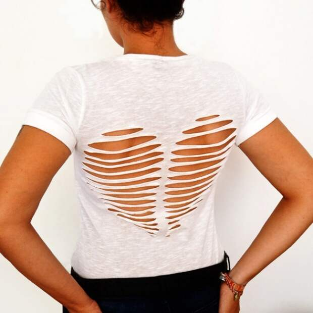 16 крутых способов переделать старую футболку!