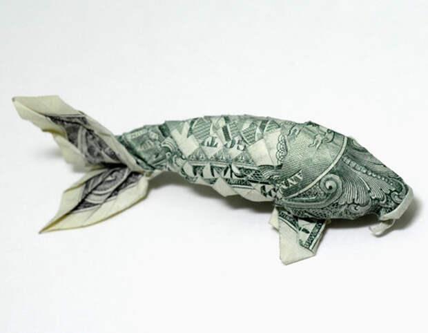 Оригами из денег - рыба