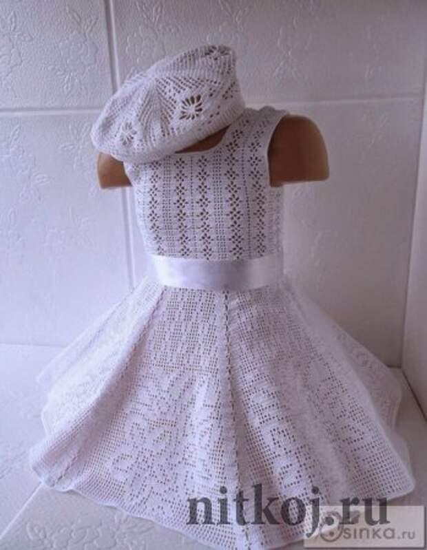 Детское платье крючком (филейка)