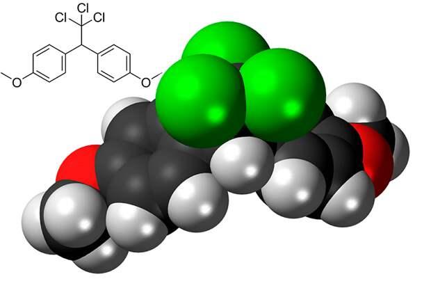 Рисунок 7. Атомная модель и химическая структура метоксихлора «Википедия»
