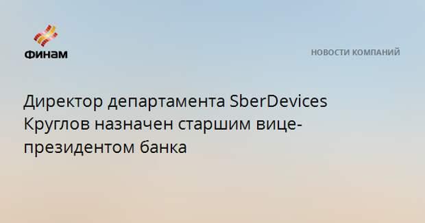 Директор департамента SberDevices Круглов назначен старшим вице-президентом банка