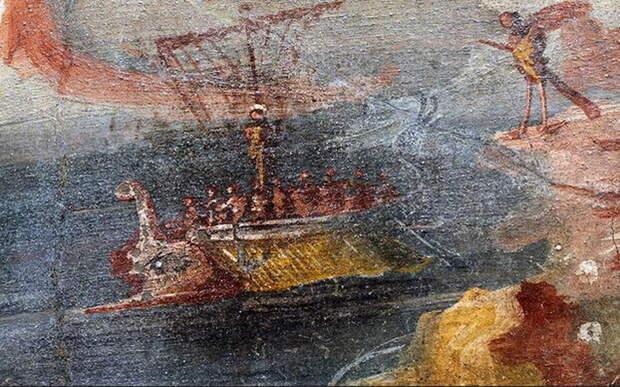 Изображение корабля на фреске из Помпей. Национальный музей археологии, Неаполь - Гражданские войны Рима: триумвиры против республиканцев | Warspot.ru