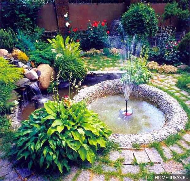 фонтан и пруд